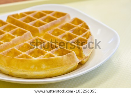 Tradition waffle in white plate  on  the table