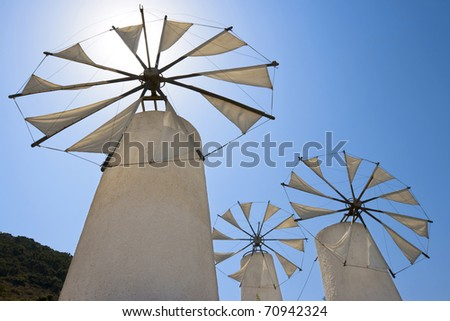 Tradition windmills in Lasithi. Crete, Greece