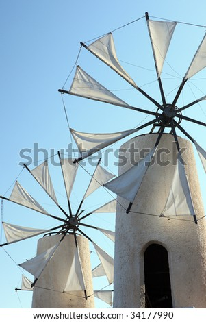 Tradition Windmills on island Crete, Greece