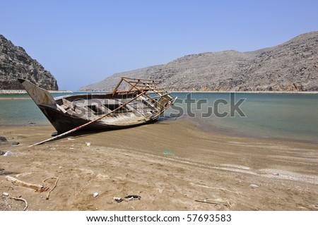 dubai beach. Boat on a Dubai Beach