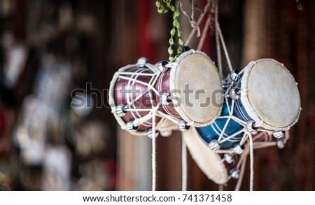 traditional african drums for sale on a street market