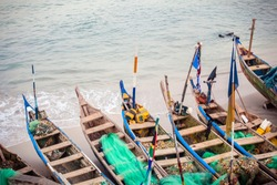 Traditional African Fishing Boats in Cape Coast, Ghana, West Africa