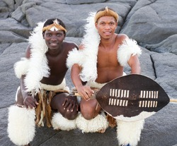 traditional african men on beach