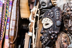 traditional african wooden carevd tribal masks at market