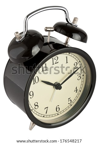 Traditional alarm clock isolated on white