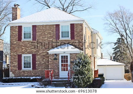 Traditional American Home in Winter