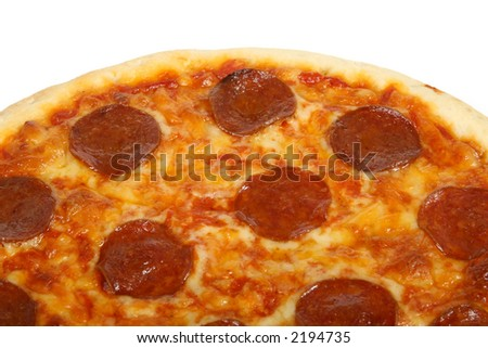 Traditional american/ italian cheese and pepperoni pizza, macro closeup with copy space.