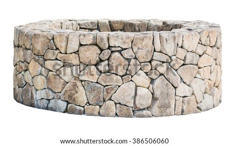Traditional Ancient stone well isolated on white background. Object with clipping path #386506060