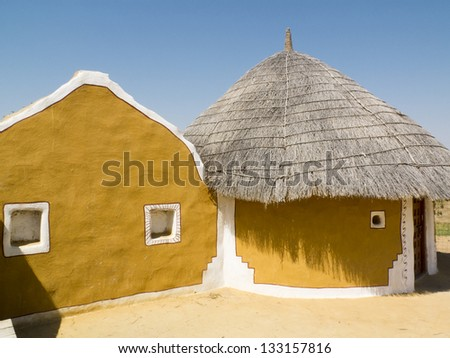 Traditional and colored lodges of an Indian village, Rajasthan.