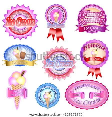 Traditional and finest quality ice cream labels and badges