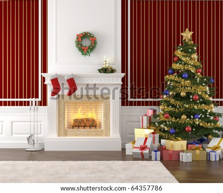 traditional and stylish interior with fireplace, christmas tree, presents and stockings
