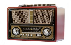 Traditional antique radio dark red black gold and yellow, with silver accents. Metal, plastic and wood
