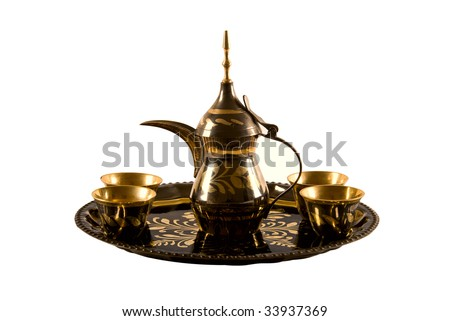 Traditional arab coffee set on white background