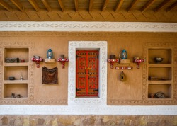 Traditional arab mud house interior in Saudi Arabia riyadh, Saudi culture, saudi heritage