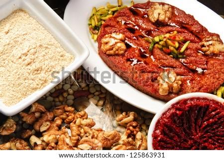 Traditional Arabic hummus plate.