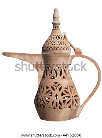 Traditional arabic jug made of clay.