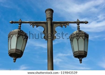 Traditional Arabic metal streetlight
