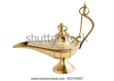 Traditional Arabic Oil Lamp isolated over white background