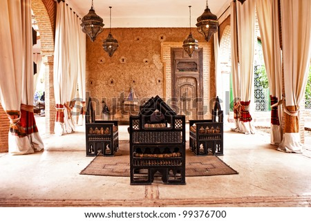 Traditional Arabic Place For Relax, Living Room With Authentic ...