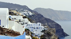 Traditional architectural style of village Oia on the island of Santorini.