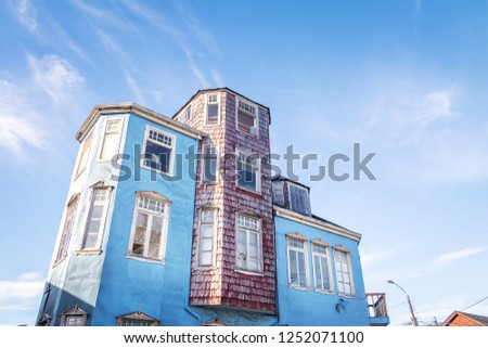 Traditional architecture houses in southern Chile - Castro, Chiloe Island, Chile
