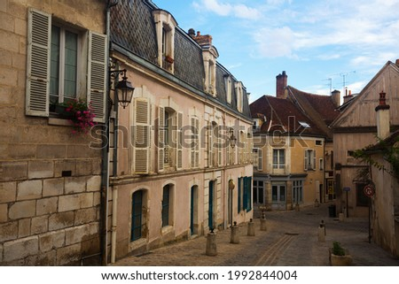Traditional architecture of Auxerre old narrow streets, France..