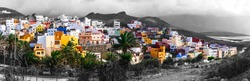Traditional architecture of Grand Canary. Colorful houses. Sardina del Norte in nothen part. Canary island