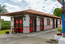 Traditional architecture of the colonial period in the Andean area, in South America, traditional house of the Antioquia region, traditional and ecological coffee and tourist area. Coffee region, coff