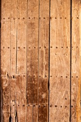 Traditional artisan entrance door made of wood in oldtown kasbah Morocco