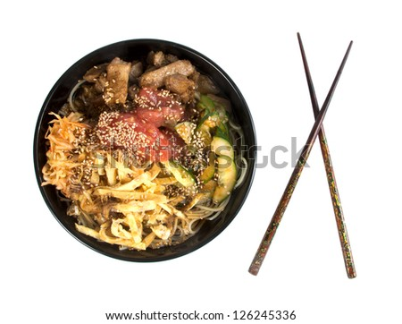 Traditional Asian food, Korean noodles with meat and vegetables.