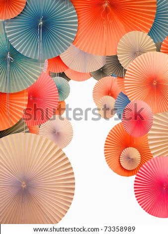 Traditional Asian paper umbrellas with white space - stock photo