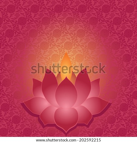 Traditional Asian pattern background with lotus shaped lamp