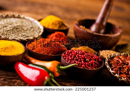 Traditional Asian seasoning on wooden table