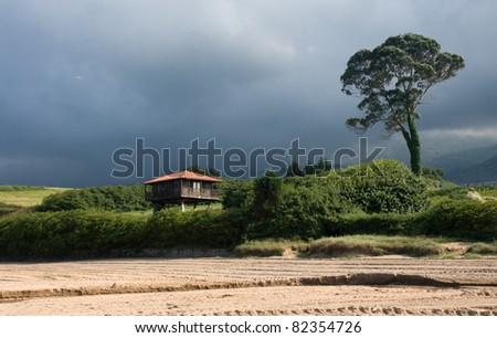 Traditional Asturian house on stilts