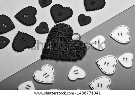 Traditional attributes of valentines day. Valentines holiday celebration. Decoration heart background. Love symbol valentines. Valentines day advertisement. Lovely background. Texture hearts close up. #1488771041