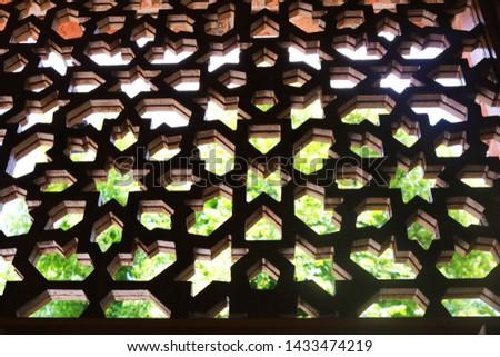 Traditional Azerbaijan handmade ornament called shebeke. Oriental ornaments lattice made of wood. Background islamic ornaments #1433474219