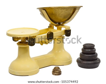 Traditional balance kitchen scales with weights isolated on a white background