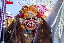 Traditional Balinese Barong mask on street ceremony in Ubud, island Bali, Indonesia. Close up