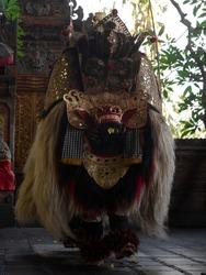 Traditional balinese culture art performance Sahadewa Barong dance costume choreography in hindu temple in Gianyar Ubud Bali Indonesia