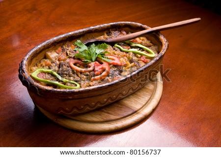 Traditional balkan food on table