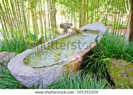 Traditional bamboo fountain of Japanese