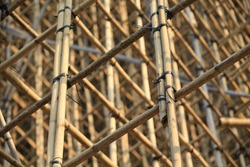 traditional bamboo Scaffolding close up with many bamboo