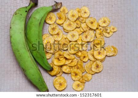 Traditional Banana chips from Kerala cuisine.fried chips. banana chips. Raw green banana India Asia
