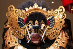 Traditional Barong Bangkal Mask costume for a Bali Dance theater performance - Barong Bangkal. Indonesia, Bali