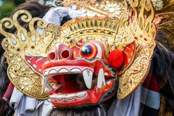 Traditional Barong costume for a Bali theater performance - Barong Macan