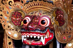 Traditional Barong Mask costume for a Bali theater performance - Barong Macan. Indonesia, Bali
