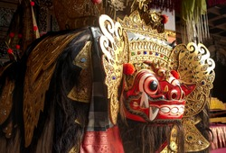 Traditional barong mask in Bali Indonesia used in dance performance or religious ceremony and affairs