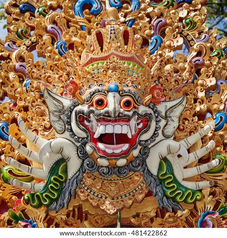 Traditional Barong mask pattern in temple - protective spirit, Bali island symbol. Featured in Balinese dances and ceremonies. Culture, religion, Arts festivals of Indonesian people. Travel background