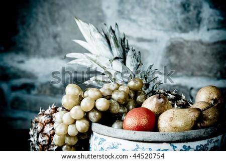 Traditional basket full of fruits - still life shoot #44520754