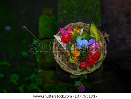traditional basket of offerings to the gods